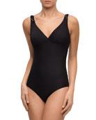 Chic Tressage Non-Wire V-Neck Textured One-Piece Swimsuit