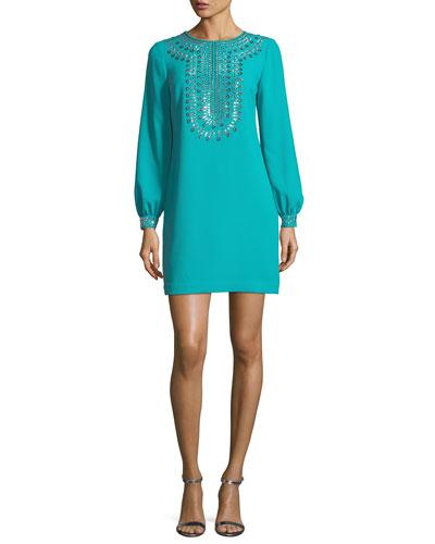 Crepe Embellished Long-Sleeve Dress