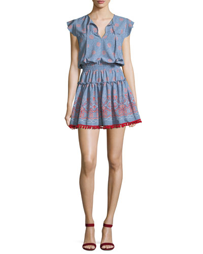 Tatiana V-Neck Tiered Printed Mini Dress
