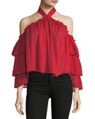 Alisa Halter-Neck Tiered-Sleeve Gauze Top