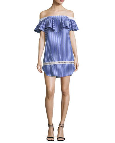 Katya Off-the-Shoulder Striped Short Dress