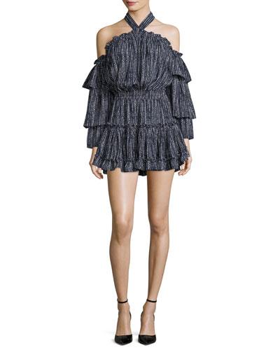 Olivya Off-the-Shoulder Halter Printed Mini Dress