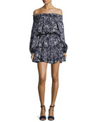 Darla Off-the-Shoulder Floral-Print Satin Mini Dress