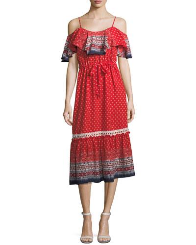 Larsen Cold-Shoulder Bohemian Printed Long Dress