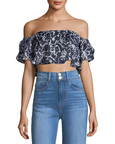 Lunna Off-the-Shoulder Floral-Print Satin Crop Top