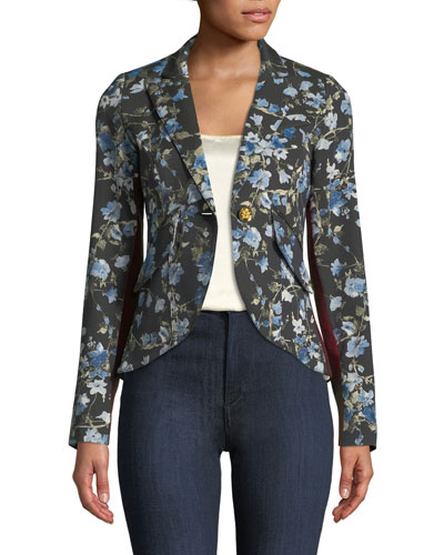 Floral-Print One-Button Blazer