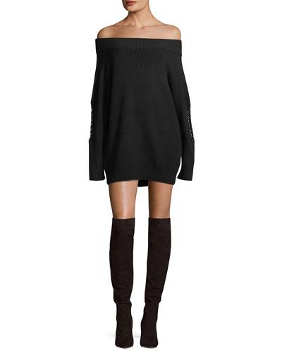 Off-the-Shoulder Wool-Blend Sweater Dress