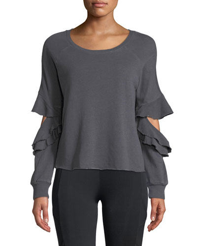 Ruffle Cutout French-Terry Pullover Sweatshirt