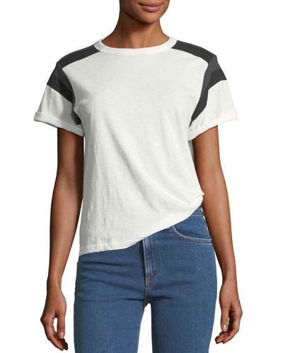 Short-Sleeve Cotton Tee with Panel Detailing