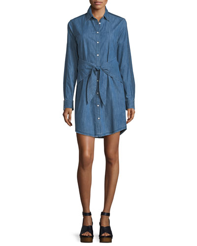 Sadie Button-Front Long-Sleeve Denim Shirtdress