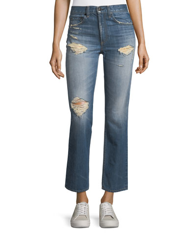 Distressed Cropped High-Rise Straight-Leg Jeans