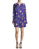 Long-Sleeve Cinched Waist Floral-Print Shirtdress