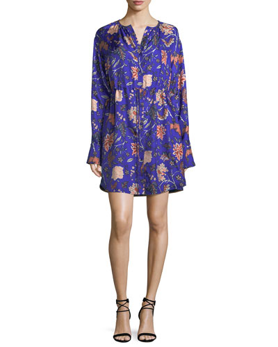 Long-Sleeve Cinched Waist Floral-Print Shirtdress