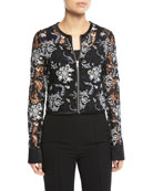 Zip-Front Cropped Lace Jacket