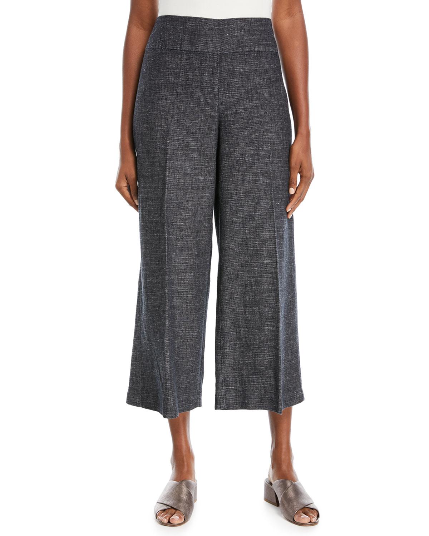 Tweedy Cropped Wide-Leg Pants