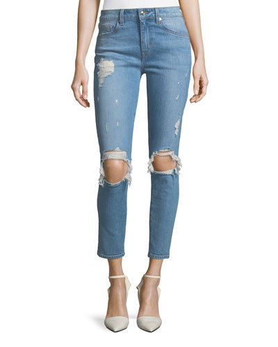 Devi Distressed Mid-Rise Skinny-Leg Ankle Jeans