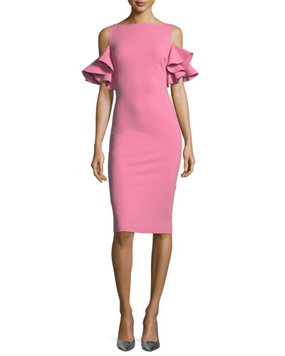 Tata Cold-Shoulder Ruffle-Sleeve Cocktail Sheath Dress