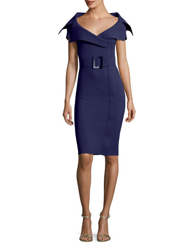 Aura V-Neck Sheath Belt Cocktail Dress