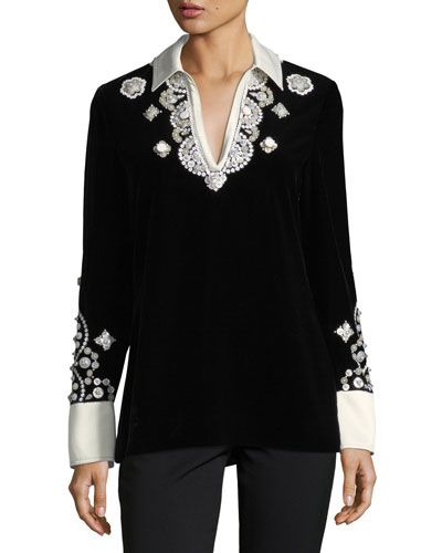 Hadley Plush-Velvet Embroidered Tunic