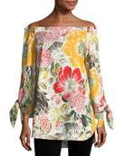 Floral-Print Off-the-Shoulder Poplin Tunic