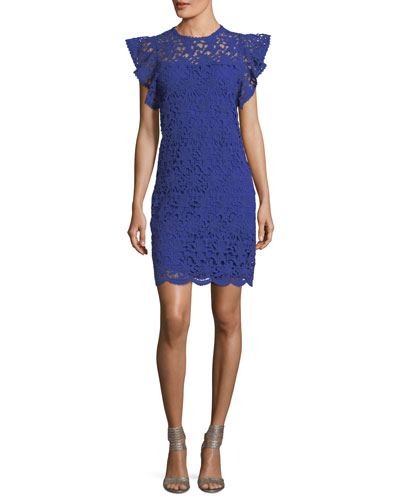 Ally Frill-Sleeve Lace-Guipure Dress