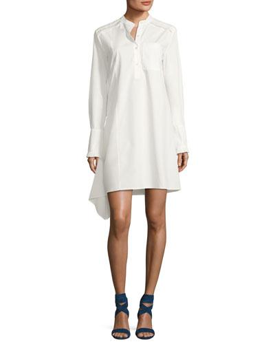Long-Sleeve Poplin Shirtdress with Ruffle Detail