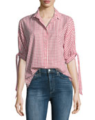 Priya Grid-Print Button-Front Cotton Shirt
