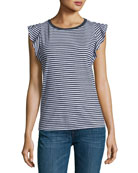 Margina Crewneck Sleeveless Striped Top