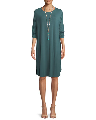 Long-Sleeve Boxy Jersey Knee-Length Dress, Petite