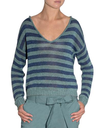 Striped V-Neck Linen Sweater
