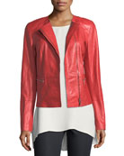 Caridee Zip-Front Leather Jacket, Plus Size