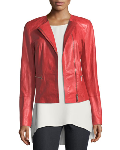 Caridee Zip-Front Leather Jacket, Plus Size
