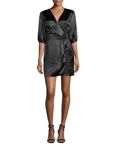 Cami V-Neck 3/4-Sleeve Crossover Satin Dress