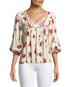 Brige V-Neck 3/4-Sleeve Floral-Print Top