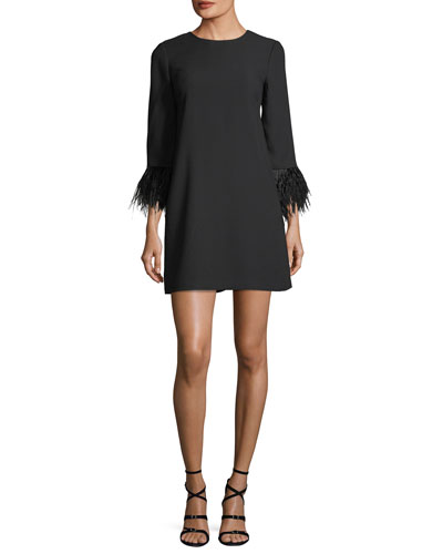 Cersy Round-Neck Crepe Shift Dress