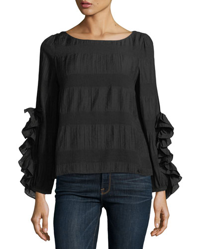 Rubard Boat-Neck Ruffled Long-Sleeve Blouse
