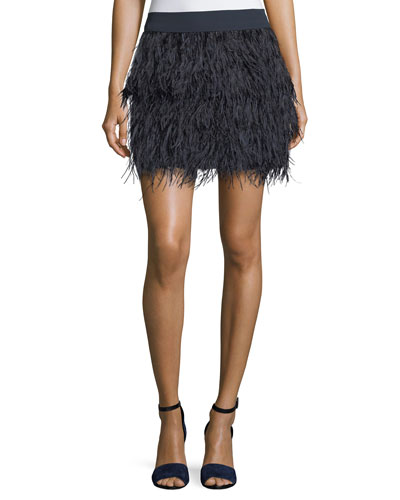 Rahma Feather Straight Mini Skirt