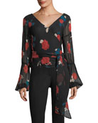 Darlana V-Neck Floral-Print Silk Top
