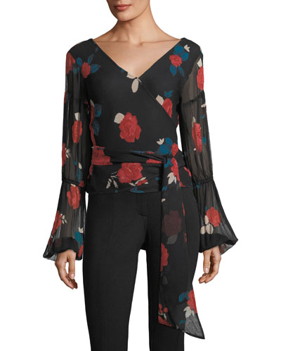 Darlana V-Neck Floral-Print Silk Top