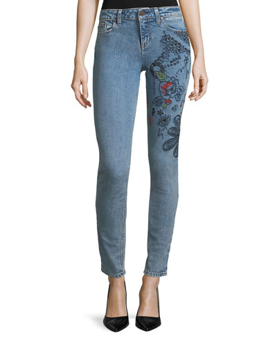 Low-Rise Skinny-Leg Jeans with Embroidery