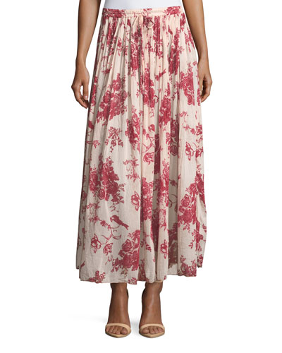 Liberty Floral-Print Gathered A-Line Voile Long Skirt