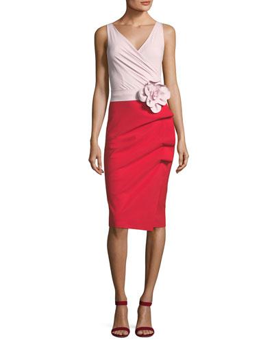 Madalina Colorblock 3D Flower Sheath Dress