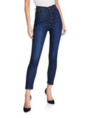 High-Rise Exposed Buttons Skinny-Leg Jeans