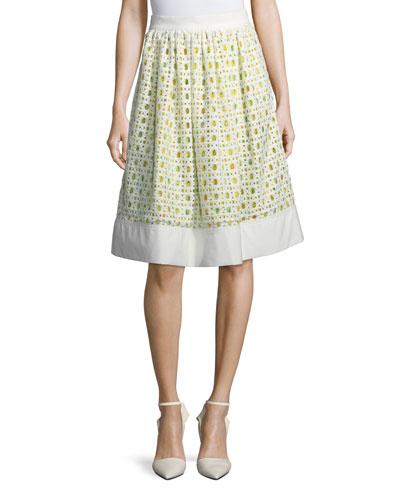 Lemon-Print Eyelet A-Line Skirt