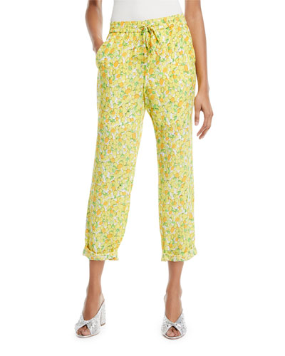 Lemon-Print Crop Pants