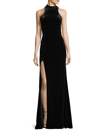 Halter-Neck Velvet Burnout Gown