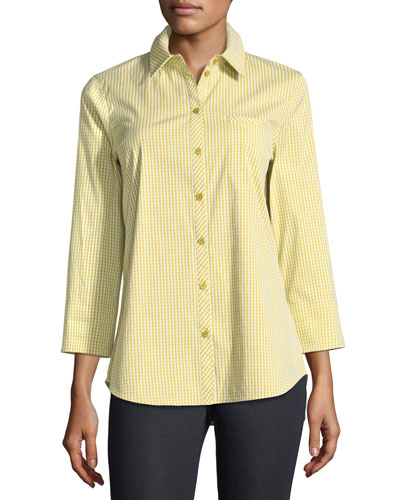 Paget Ithaca Mini-Check Shirting Blouse, Plus Size