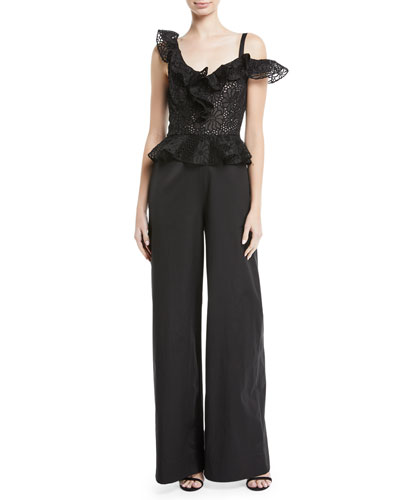 Malorie Embroidered Lace Peplum Top