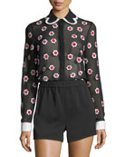 Willa Floral-Embroidered Long-Sleeve Sheer Shirt