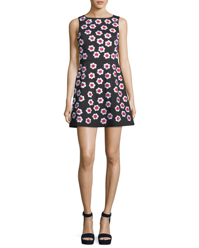 Lindsey Sleeveless A-Line Dress with Floral Appliques